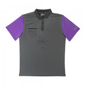 Rory McIlroy Autographed Dark Grey and Purple Nike Polo