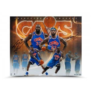 "Shaquille O'Neal & LeBron James Autographed ""Transcendent Twosome"" Photo"