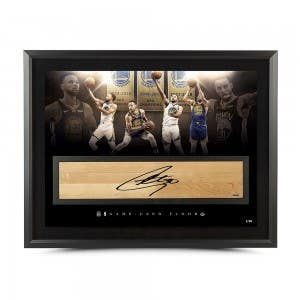 """Stephen Curry Autographed NBA Game-Used Floor """"Champion"""" 36x24"""