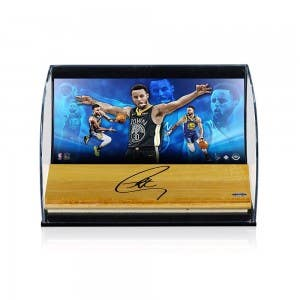 """Stephen Curry Autographed NBA Game-used Floor With """"Generalist"""" 8x10 Photo Curve Display"""