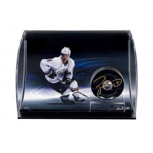 Taylor Hall Autographed Hockey Puck with Curve Display Case