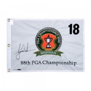 Tiger Woods Autographed 2006 PGA Championship Pin Flag