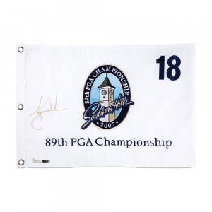 Tiger Woods Autographed 2007 PGA Pin Flag