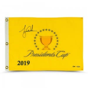 Tiger Woods Autographed 2019 Presidents Cup Pin Flag