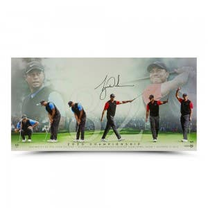 "Tiger Woods Autographed ""82"" 36 x 18"