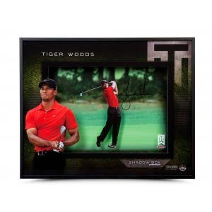 Tiger Woods Autographed 'Approach' 16x20 Shadow Box