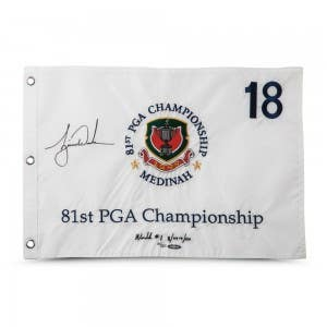 Tiger Woods Autographed & Embroidered 1999 PGA Championship Pin Flag