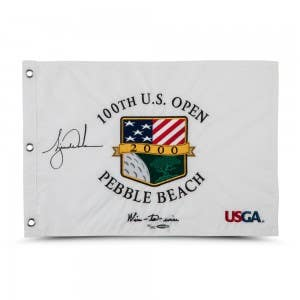 Tiger Woods Autographed & Embroidered 2000 U.S. Open Pin Flag