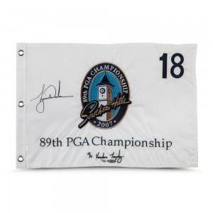 Tiger Woods Autographed & Embroidered 2007 PGA Championship Pin Flag