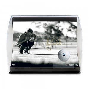 "Tiger Woods Autographed ""Lining It Up"" Curve Display"