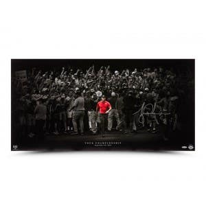 """Tiger Woods Autographed """"Moving Forward Silver"""" 36x18"""