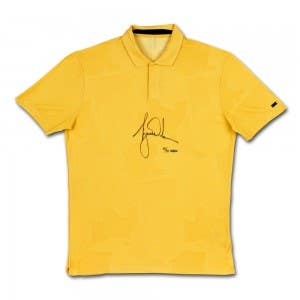 Tiger Woods Autographed Nike Dri-FIT Gold Camouflage TW Polo