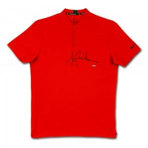 Tiger Woods Autographed Nike Dri-FIT Red TW 2020 Polo
