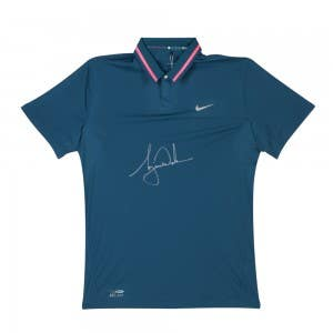 Tiger Woods Autographed Nike Space Blue Hyper Pink Metallic Silver Polo