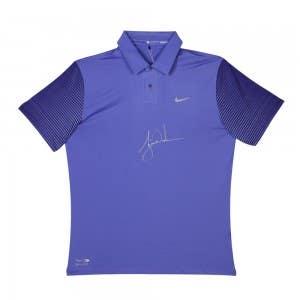 Tiger Woods Autographed Nike Purple Haze Black Metallic Silver Polo