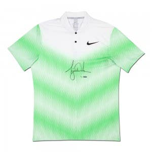 Tiger Woods Autographed Nike White Polo With Green Strike Pattern