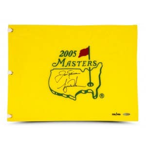 Tiger Woods & Jack Nicklaus Dual Signed 2005 Masters Pin Flag