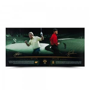 "Tiger Woods & Jack Nicklaus ""Masterful"" 36 x 18"