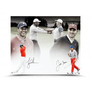 """Tiger Woods & Justin Thomas Autographed """"Mutual Respect"""" 20x24"""
