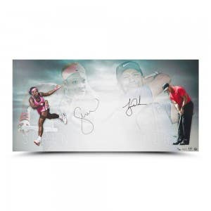 Tiger Woods and Serena Williams Autographed Luminaries 36 x 18