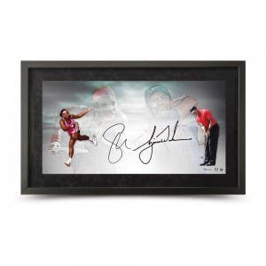 "Tiger Woods and Serena Williams Autographed ""Luminaries"" 36 x 18 Framed"