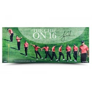 Tiger Woods Autographed The Chip on 16 Picture