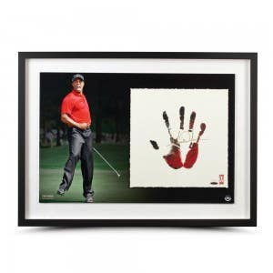 "Tiger Woods Signed ""Tegata"" Red & Black Lithograph"