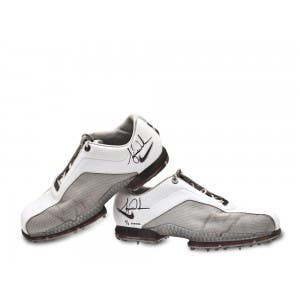 Tiger Woods Tournament Worn White & Grey Nike Golf Shoes