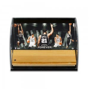Tim Duncan Banners Last Forever Game Used Floor