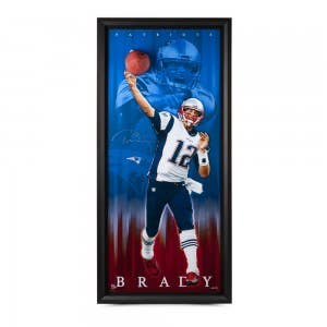 "Tom Brady Autographed Patriots Breaking Through 30"" x 70"""
