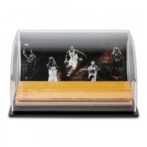 Toronto Raptors Defenders of the Hardwood Game-Used Floor Piece Curve Display Case