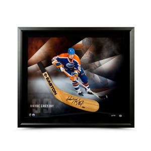 Wayne Gretzky Autographed Easton Stick Blade with Smoking Mirror Picture - Framed