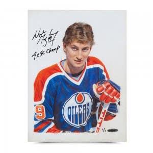 Wayne Gretzky Autographed & Inscribed Oilers Original Card Art