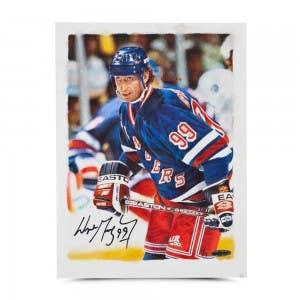 Wayne Gretzky Autographed Rangers Original Card Art