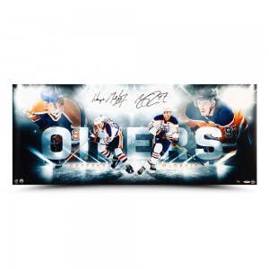 """Wayne Gretzky and Connor McDavid Autographed """"Bright Lights"""" 36x15"""