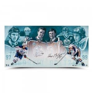 "Wayne Gretzky & Connor McDavid Autographed ""Origins"" 36x18"