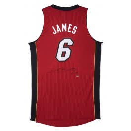 LeBron James Signed Miami Heat Authentic Adidas Red Alternate Jersey