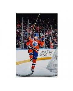 "Connor McDavid Autographed ""Home Opener Celebration"" 24 x 16"
