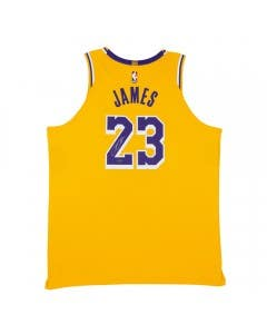 Exclusive LeBron James Autographed Los Angeles Lakers Gold Authentic Nike Jersey