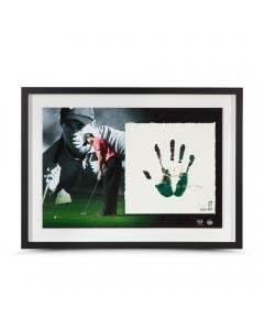 Tiger Woods Autographed & Inscribed Green & Black Tegata Lithograph