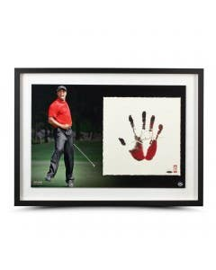 "Tiger Woods Signed ""Tegata"" Red & Black Lithograph"