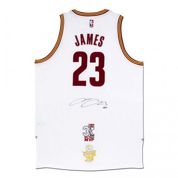 LeBron James Autographed Cleveland Cavaliers Authentic Adidas White Jersey With 3x NBA Finals MVP Logo & 2016 NBA Finals Championship Logo