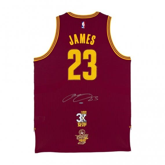 LeBron James Autographed Cleveland Cavaliers Authentic Adidas Wine Jersey With 3x NBA Finals MVP Logo & 2016 NBA Finals Championship Logo