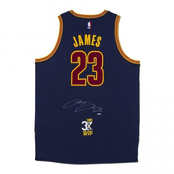 LeBron James Autographed Cleveland Cavaliers Authentic Adidas Blue Jersey With 3X Finals MVP Patch