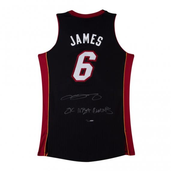 """LeBron James Signed & Inscribed """"2x NBA Champs"""" Authentic Miami Heat Black Jersey"""