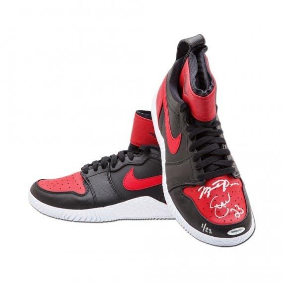 Michael Jordan & Serena Williams Autographed & Inscribed Red & Black Nike Court Flare Air Jordan1 Shoes